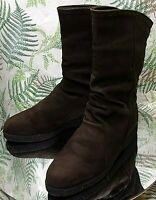 SANTANA CANADA BROWN NUBUCK LEATHER MID CALF BOOTS SHOES LINED US WOMENS SZ 7 M