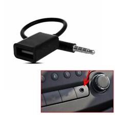 Black 3.5mm Male AUX Audio Plug Jack To USB 2.0 Female Converter Adapter Cable