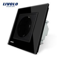 Livolo EU Standard Black Crystal Glass Panel AC 110~250V 16A Wall Power Socket