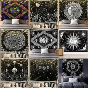 Black and White Moon Sun Star Tapestry Psychedelic Popular Mystic Wall Hanging