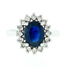 Estate 14K White Gold 2.30ctw GIA Oval Sapphire & Diamond Halo Engagement Ring