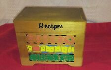 VINTAGE WOODEN RECIPE BOX  WITH TABBED DIVIDERS FRUIT DESIGN