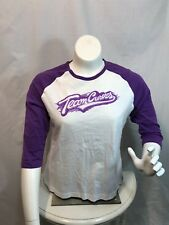 Team Curves for Women Raglan Shirt Purple White Cotton Fitness Exercise Large