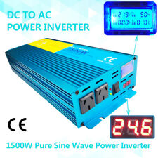 1500w pure sine wave power inverter DC 24v to AC 240v truck converter travel LCD