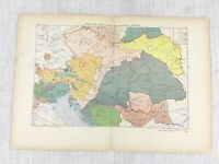 1881 Antique Military Map of Austria Hungary Formation of The Empire Battle War