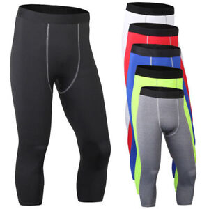 Mens Sports 3/4 Pants Gym Compression Base Layer Skin Fitness Leggings Trousers