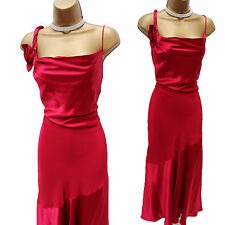 Precise Petite Fuchsia Pink Soft Satin Long Maxi Cocktail Party Dress 14 UK
