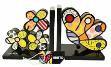 Romero Britto Butterfly and Flower Bookends RETIRED