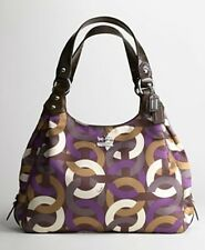 Coach Madison Maggie Chainlink Sateen Leather Hobo Satchel Tote 14420