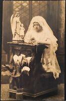 Studio Real Photo Postcard RPPC ~ Girl Kneeling Catholic Holy Communion Utica NY