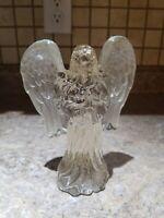 Vintage Crystal Clear Glass Angel Figurine Vintage Praying Wings