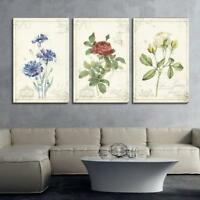 "Wall26 - 3 Panel Vintage Style Flowers - Canvas Wall Art - 16""x24"" x 3 Panels"