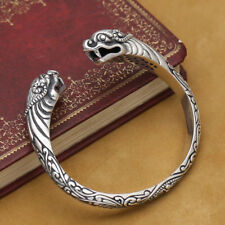 Viking Fenrir Pengan pure Solid 925 Sterling Silver Handmade Warriors Bracelet