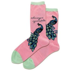 Peacock Sparkle Hot Sox Women's Crew Socks Pink New Novelty Fancy Bird Fashion
