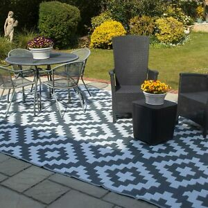 Valiant Outdoor Patio and Decking Rug - Geometric Grey - 9ft x 6ft (2.7m x 1.8m)