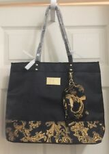 NWOT Versace PARFUMS Tote Shoulder Bag Black Gold With Pouch!