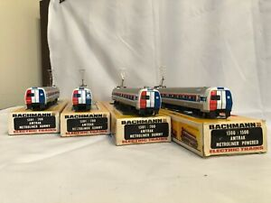 Four (4) HO Bachmann Amtrak Metroliner Set/Lot (1 Powered, 3 Dummy)