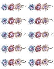 Conjunto De 10 PRECIOSO Multicolor Floreado Pasadores con hermosa Piedrería