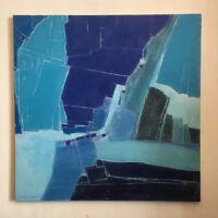 """FOUGERAND.Laurent _Huile sur toile de 90 cm x 90 cm """" BLEU ARCTIQUE """""""