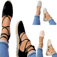 NEW Women's Shoes Flat Lace Up Espadrilles Flats Cross Over Sandals Beach Casual