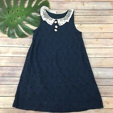 Laundry Shelli Segal Girls Dress Size 14 Navy Blue Lace Peter Pan Collar Floral