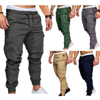 Men Casual Trousers Ankle Banded Pants Jogger Cargo Pants Sportwear Multi-pocket