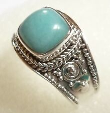 Size US 8 3/4 (R) 925 Sterling Silver Natural Cabochon Peruvian Amazonite Ring