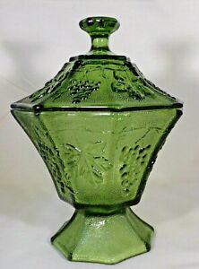"Candy Dish & Lid Green Glass 8 Sided Footed Grape Design 7"" Tall Vintage Nice"