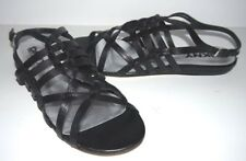 WOMENS DONNA KARAN DKNY GALLY BLACK STRAPPY LEATHER SANDALS FLAT SHOES 9.5 $119