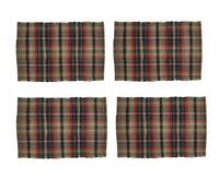 Park Designs Deep River Brown Blue Country Plaid Chindi Placemat Set of 4
