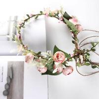 Women Floral Head Wreath Flower Crown Hair Wreath Headband Garland Bride Wedding
