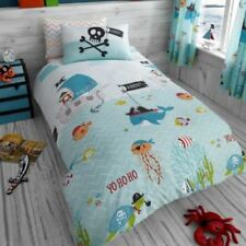 Ropa de cama azules para niños, piratas