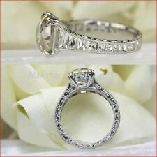 Unique 2 Ct White Moissanite Round Wedding Engagement Ring 925 Sterling Silver