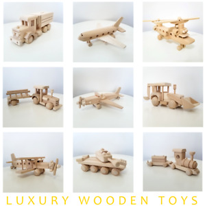 Premium Wooden Toys Truck Cars Aeroplane Train Money box Digger Tractor Xmas NEW