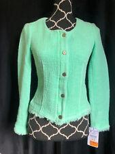 Zara Trafaluc Collection Green Boucle Fringe Blazer Career Top Jacket Sz S NWT