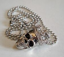 Men's Silver Finish Skull with Crown Hip-Hop Pendant with Complementary Chain