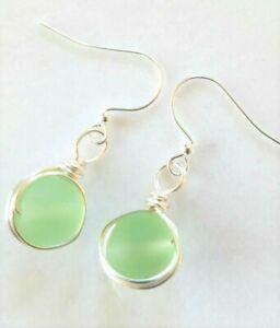 Sea glass jewelry PERIDOT GREEN Round beach glass custom-wrapped silver Earrings