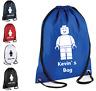 PERSONALISED Drawstring Gym LEGO Man Bag School Shoes PE  Kit Sport Girls Boys