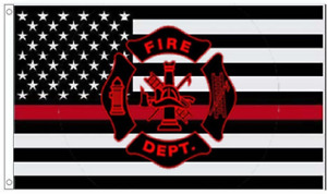 """/""""FIRE DEPARTMENT RED LINE/"""" 3x5 ft flag polyester premium waterproof"""