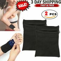2PCS Wrist Wallet Pouch Bag Band Zipper Running Travel Gym Running Sports Pocket