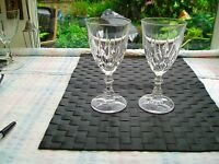 2 Large crystal wine glasses with faceted stems