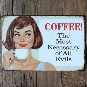 Retro Metal Tin Sign COFFEE Art Poster Cafe Pub Bar Home Wall Decor #6