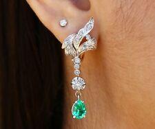 3.0 Tcw Vintage Colombian Emerald Diamond Drop Woman's Earrings 14K White Gold