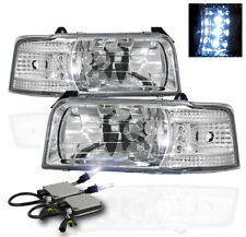 1992-1996 FORD BRONCO F150 F250 F350 CHROME LED HEADLIGHT SET+10000K HID KIT NEW