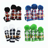 Pom Pom Head Cover Driver Hybrid Rescue UT Fairway Wood Golf Knitting Headcovers