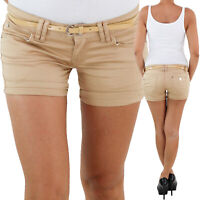 Damen Hotpants mit Gürtel Hot Pants Jeans Shorts Kurze Hose Capri Hüft Stretch