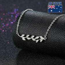 New 925 Sterling Silver Elegant Crystal Olive Leaf Branch Pendant Charm Necklace