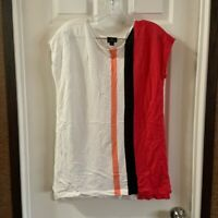 Worthington Women's White/Pink Scoop Neck Knit Blouse M