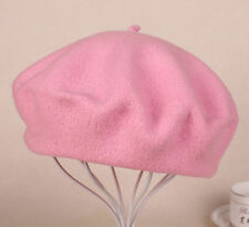 Winter Warm Wool Beret Hat Solid Women Fluffy Beanie Ski Cap French Artist
