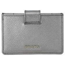 Prada Accordion Saffiano Leather Card Case - Cromo